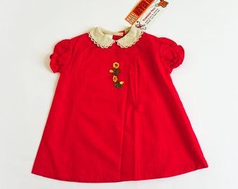 "Vintage 1960s Girls Size 3 Dress / A-Line Dress Deadstock / b28"" L19"" / Red Cotton Embroidery Applique Crochet Trim / 2 Available"