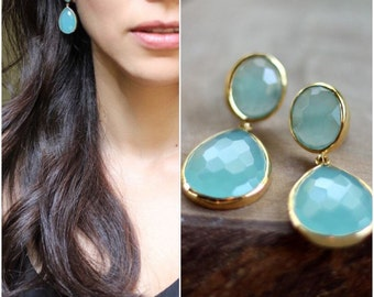 Aqua Blue Chalcedony Earrings - Bezel Set....LIMITED EDITION