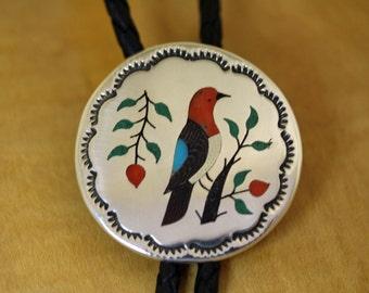 Silver Bolo Tie Inlaid Bird Raymond Boyd