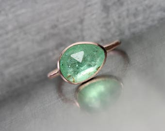 Rose-Cut Mint Tourmaline 14K Rose Gold Silver Ring Copper Bearing Vivid Glowing Pale Green Gemstone Natural Inclusions Delicate - Paraiba