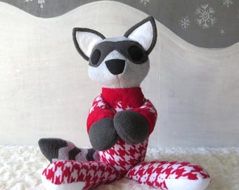 Raccoon in Pajamas, Raccoon Plush, Woodland Plush, Toy Raccoon