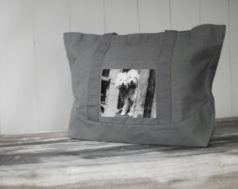 Poodle Buddies Tote - Vintage Photo on a LARGE Cotton Canvas Bag