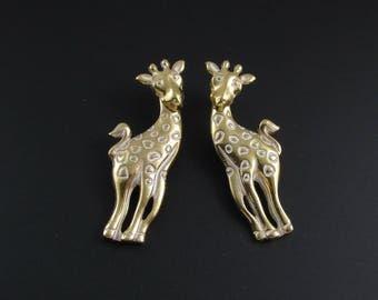 Avon Giraffe Earrings, Avon Jungle Animal, African Earrings, Animal Earrings, Gold Earrings, Statement Earrings, Zoo Earrings