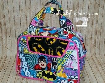 Ready to Ship - GIRL POWER Wonder Woman, Super Girl, Bat Girl and Batman Logo with Hot Pink Piping Zippered Handbag Purse - Marvel Comic