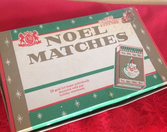 Holiday Matchbooks Christmas ~ Vintage Foil Embellished Books of Matches ~ Noel Matches ~ Made In Japan ~ Old Christmas Decorationa