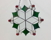 Diamond Beveled Stained Glass Snowflake Suncatcher