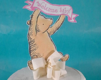 Classic Pooh bear cake topper, banner, Winnie the Pooh, baby girl shower party decoration D221