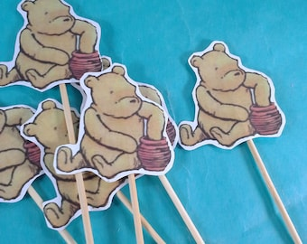 Pooh cupcake toppers, classic pooh birthday, shower toppers A174, cupcakes