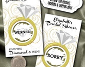 10 Party Scratch Off Cards, Gold Diamond Ring, Bridal Shower, Bachelorette Party, Engagement Party, Party Games, Gold Color Scheme