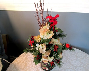 Christmas Cardinal Floral / Holiday Cardinal Tabletop Floral / Red Black Cream Floral / Floral Arrangement Tall / Cardinal Floral Red Black