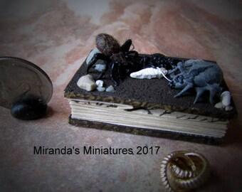 Dollhouse Miniature ooak LOTR inspired Frodo miniature book spider scene