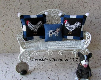 Dollhouse Miniature Chicken Rooster cow Pillow Set cottage