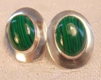Sterling Malachite Earrings Malachite Jewelry Sterling Earrings Sterling Jewelry Southwest Earrings Sterling hallmark