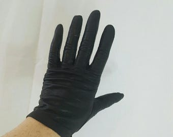 Vintage Black Kid Leather Wrist Gloves 6 1/2