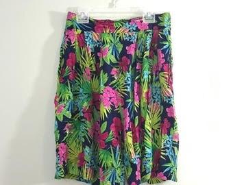 Vintage 80s Hawaiian Aloha Tropical Floral Flouncy Rayon Shorts Skort M