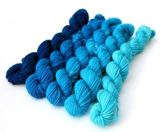 Mini skeins gradient sock yarn - Turquoise