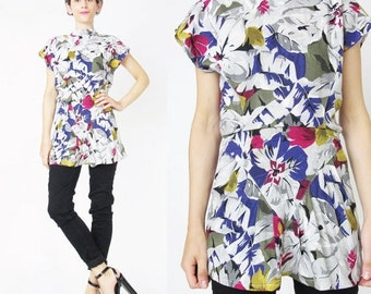 Vintage 80s Floral Blouse Abstract Floral Print Top Blouse Colorful Dotted White Peplum Blouse Multi Color High Neck Blouse New Wave (XS)