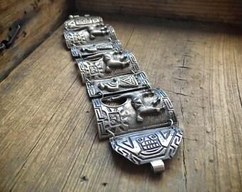 1940s 66 gm Peruvian panel bracelet sterling silver jewelry, storyteller bracelet llama alpaca, silver link cuff bangle, anniversary gift