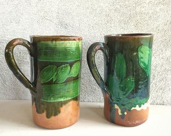 1940s Mexican pottery green glaze mugs Tlaquepaque redware folk art Southwestern decor