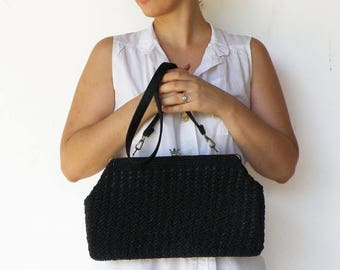 MOVING SALE Vintage Crochet Bag / 1950s Large Black Purse