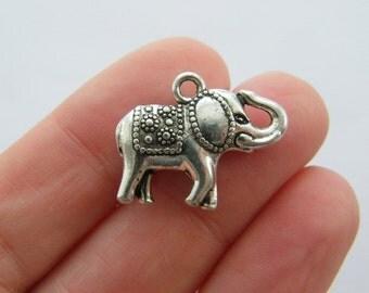 6 Elephant charms antique silver tone A613