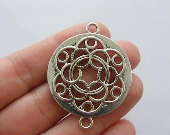 BULK 10 Flower connector charms antique silver tone M896 - SALE 50% OFF