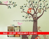 Holiday Sale - Forest Friends Tree Decal Set - Kids Wall Decals, Baby Nursery Wall Decals