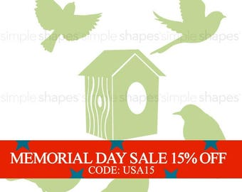 Memorial Day Sale - Additional Set of Birds and Birdhouse for Shelving Tree Wall Decal