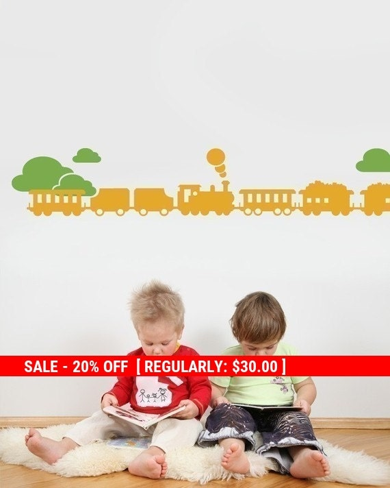 Holiday Sale - Train with Clouds Decal set - Kids Vinyl Wall Sticker