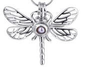 Buy NOW or Never Wholesale - QTY: 4 pieces Dragonfly - pearl cage pendant - Locket - charm - gemstone - cage - Pick a pearl