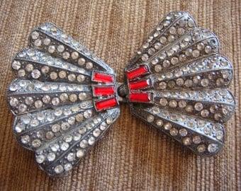 Fan Belt Buckle Pot Metal Paste Rhinestone and Ruby Belt Buckle 1930's Costume Jewelry
