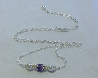 Amethyst Crystal and White Pearl Bridal Bridesmaid Necklace