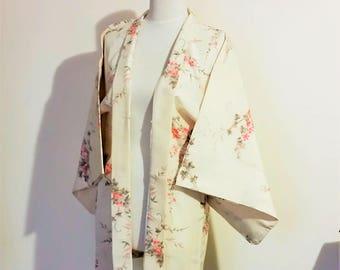 Vintage KIMONO jacket HAORI SAKURA Cherry blossom ivory pink green small size ready to ship