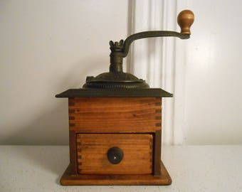 Vintage Cast Iron and Dovetail Wood Coffee Grinder Manual Coffee Grinder Tested and Works 60's-70's Era