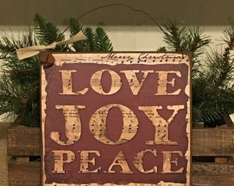 Love,Joy,Peace,Christmas Sign,Christmas Decoration,Primitive Sign,Rustic Sign,Primitive Christmas Decor