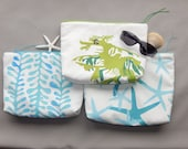 """EVERYTHING BAG seaweed, sea stars or sea dragon plus zippered case tablet cosmetic makeup 9""""x12""""x2.5"""" travel toiletry purse Crabby Chris™"""