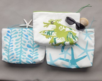 "EVERYTHING BAG seaweed, sea stars or sea dragon zippered case tablet cosmetic makeup 9""x12""x2.5"" travel pouch toiletry purse Crabby Chris™"