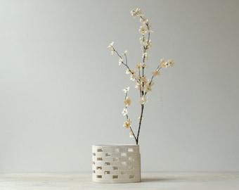 Vintage Flower Vase, Japanese TOYO Ceramic Vase, Ikebana Vase