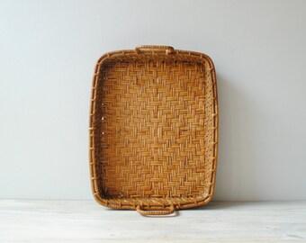 Vintage Bamboo Basket Tray
