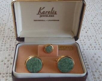 Vintage Cuff Links Tie Tack 14Kt Gold Filled Jade Stones