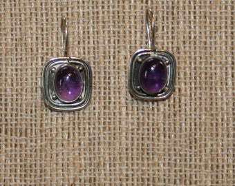 Free USA Shipping! Vintage Southwestern Amethyst Hook Earrings!