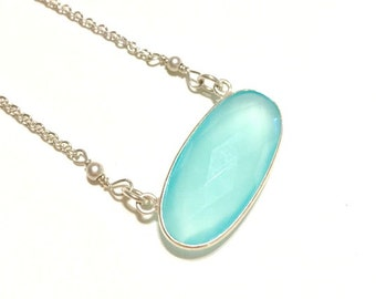 Aqua Blue Chalcedony Necklace - Simple Necklace - Silver Chalcedony Necklace - Gemstone Necklace
