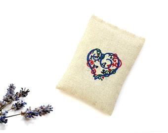 Embroidered sachet, lavender sachet, 5 x 3.5 inches, linen sachet organic lavender gift under 10, drawer freshener, colorful heart