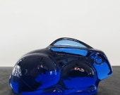 Rabbit Paperweight Cobalt Glass  Bunny Art Deco Blue 1930s 1940s