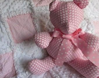 Handmade teddy bear, pink, heart, polka dot, rag quilt, stuffed animal