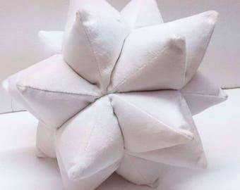 white Pillow/Velvet Pillow/Star Pillow/Origami/Shaped Pillow/Unique Wedding Gift/Gift Mom/Decorative throw pillow/geometric