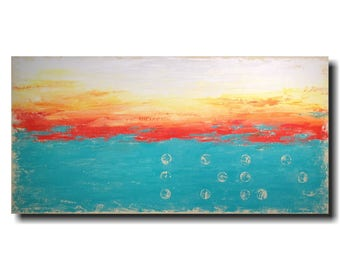 Original Large abstract painting textured wall art  oil paintings by jmjartstudio 24 x 48 blue birthday gift Braille  artwork love