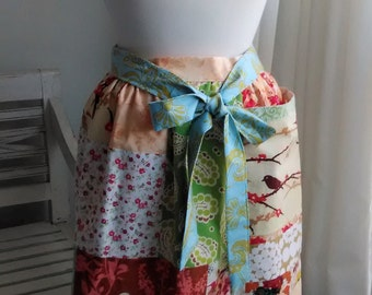 Vibrant Patchwork  Gathered Fully Lined Apron with Pocket Apricot Aqua Gold Nutmeg Persimmon Olive