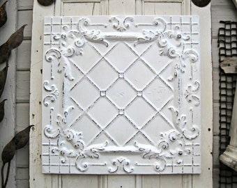 "Tin Ceiling Tile. FRAMED 24"" antique metal tile.  Vintage architectural salvage. White Shabby wall decor. Old pressed tin."