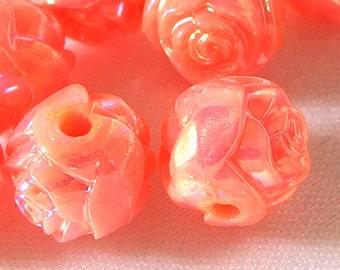 10 Vintage Flamingo AB Rosebud Beads, 10mm Acrylic Plastic Beads